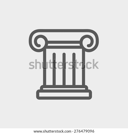 Ancient wall icon thin line for web and mobile, modern minimalistic flat design. Vector dark grey icon on light grey background. - stock vector