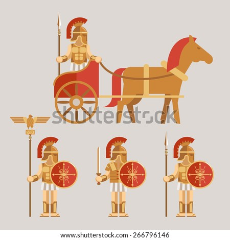 Ancient wariors icons set. Warrior on chariot with spear and warrior with sword and shield. Vector illustration - stock vector