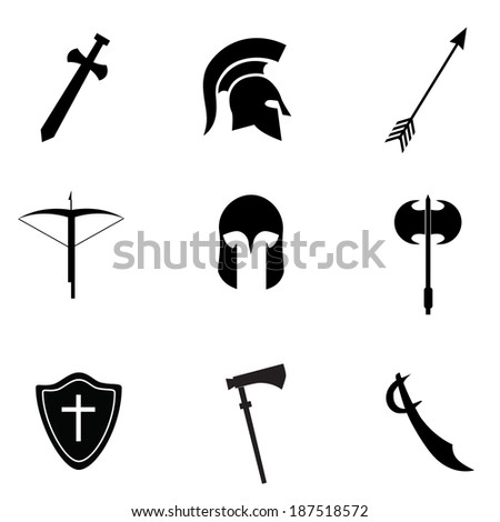 Ancient warrior equipment. VECTOR illustration. - stock vector