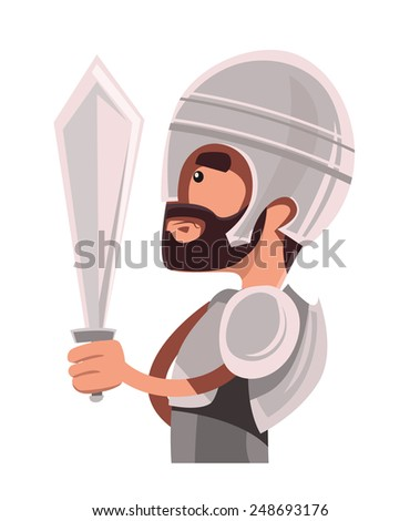 Ancient warrior in full armour vector illustration cartoon character - stock vector