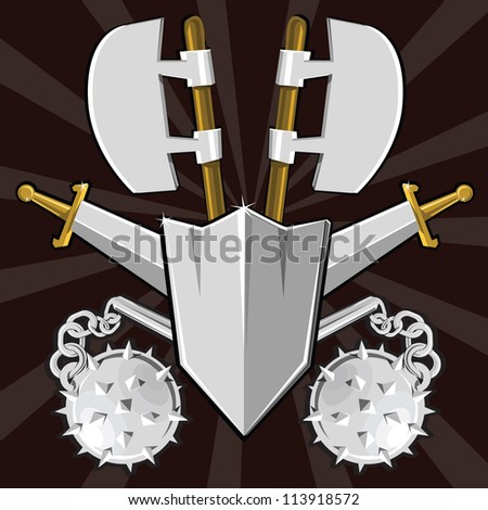 Ancient weapon collection. Cartoon vector illustration - stock vector