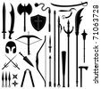 Ancient Weapon Tool Equipment Set - stock vector