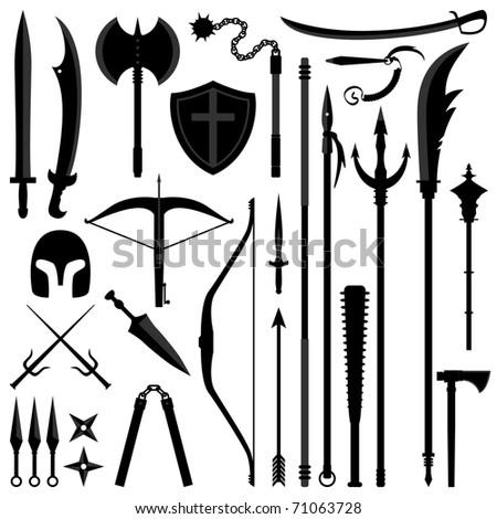 Ancient Weapon Tool Equipment Set - stock vector