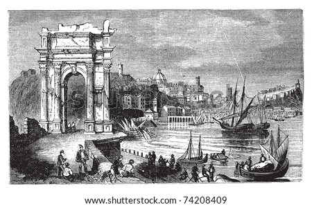 Ancona and the Arches of Trajan, Italy. Scene from 1890, old vintage illustration. Trajan arches and harbour scenery engraved illustration in vector.