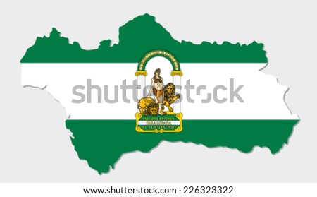 andalusia map with flag - stock vector