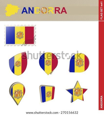 Andorra Flag Set, Flag Set #41. Vector. - stock vector