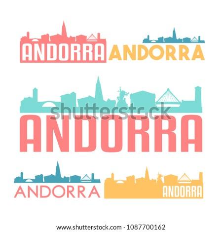 Andorra La Vella Flat Icon Skyline Vector Silhouette Design Set