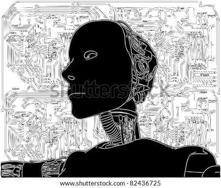 Android Reveals Internal Technology Of Their Electrical Circuit Vector 08 - stock vector