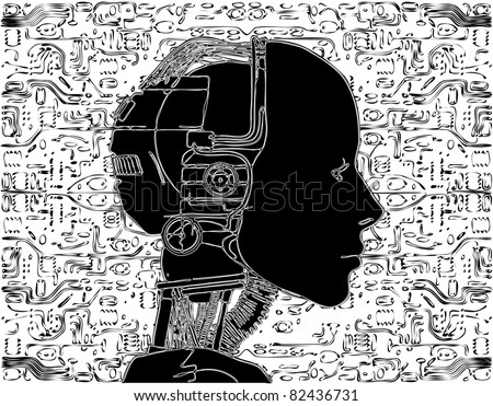 Android Reveals Internal Technology Of Their Electrical Circuit Vector 06 - stock vector
