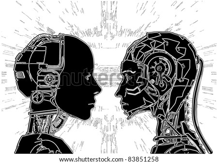 Androids Do Not Agree On Revealing Of Their Technology Vector 12 - stock vector