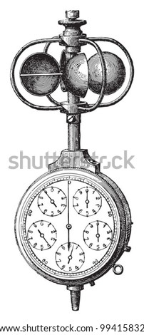 Anemometer / vintage illustration from Meyers Konversations-Lexikon 1897 - stock vector