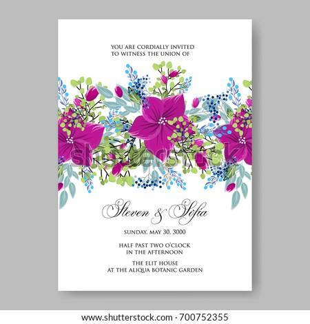 Anemone poinsettia floral wedding invitation template stock vector anemone poinsettia floral wedding invitation template card spring flowers for bridal bouquet stopboris Images
