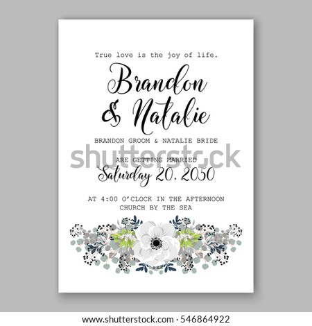 Wedding invitation card tropical poinsettia peony stock vector anemone wedding invitation card template floral bridal wreath bouquet with wight flowers mistletoe eucalyptus pronofoot35fo Images