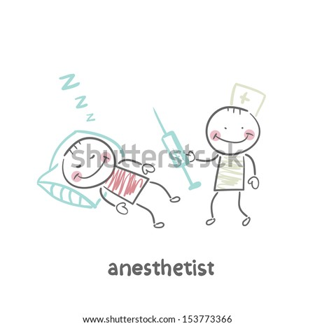 anesthesiologist with syringe next to a sleeping patient - stock vector