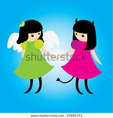 Angel and demon - stock vector
