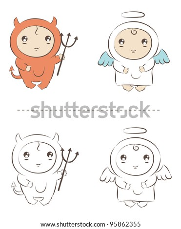 Angel and demon cute babies - stock vector