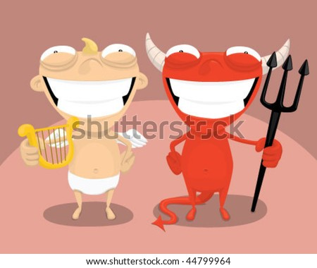 Angel and devil. - stock vector