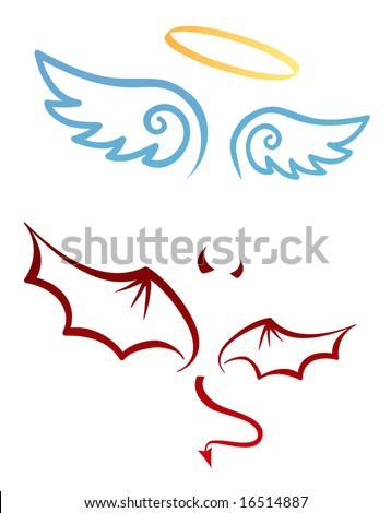 Angel and devil attributes - stock vector