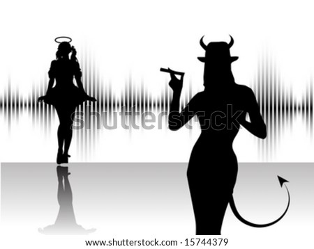 Angel and devil dancing around, white backround with equalizer - stock vector