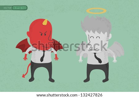 Angel and devil , eps10 vector format - stock vector