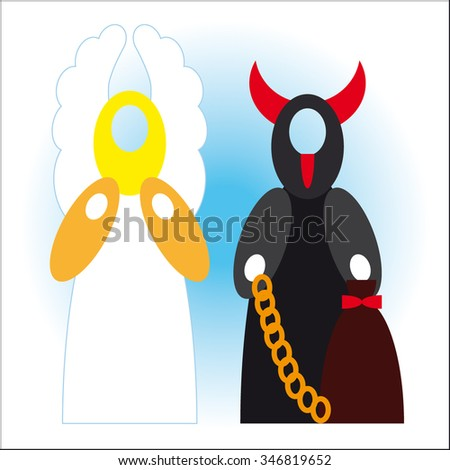 Angel and devil - good and bad - empty head vector design - stock vector