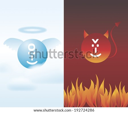 Angel and Devil, good and bad, vector - stock vector