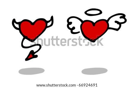 Angel and Devil hearts sketch. Vector. - stock vector