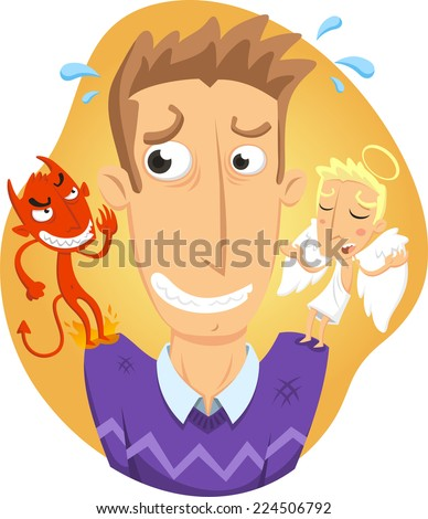 Angel and devil on a man�´s shoulder cartoon - stock vector