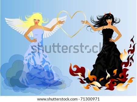 Angel and Devil retro woman - stock vector