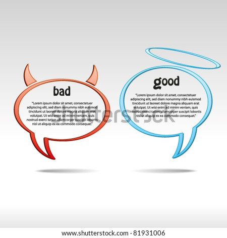 Angel and devil speech bubbles. Abstract vector background.