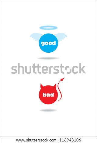 angel and devil symbol; good and bad - stock vector