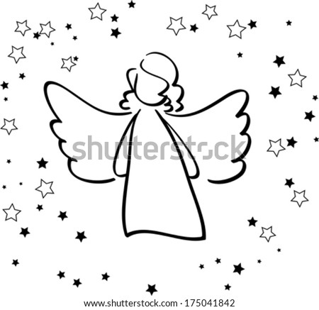 Angel and Stars - stock vector