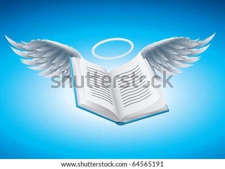 Angel book vector illustration. CMYK color mode. Elements are layered separately in vector file. - stock vector