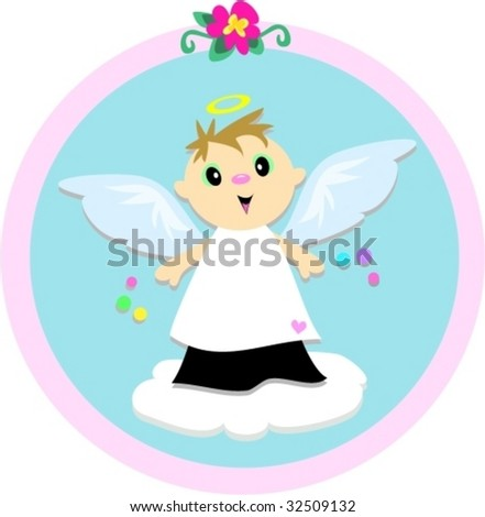 Angel Boy Circle Vector