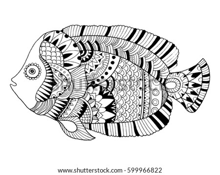Angel Fish Coloring Book Vector Illustration Black And White Lines Lace Pattern