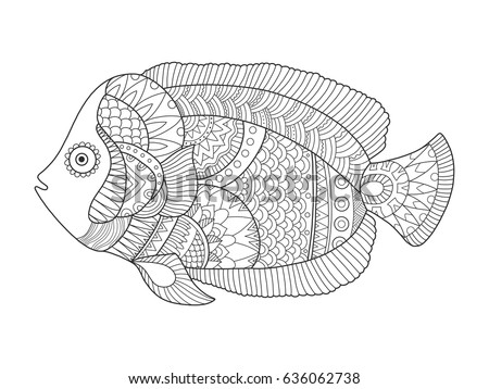 Angel Fish Coloring Book Vector Illustration. Black And White Lines. Lace  Pattern
