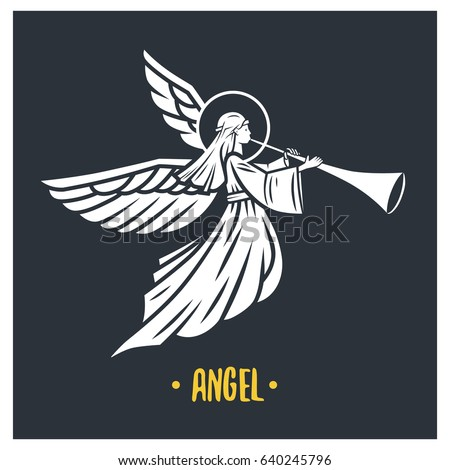 Angel god. Vector illustration. Black and white vector objects