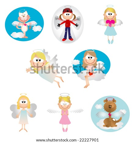 Angel icons - Part 1 (vector) - stock vector