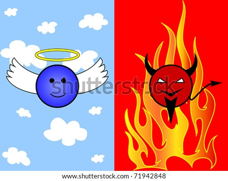 Angel in heaven and devil in hell. Also available as jpeg. - stock vector