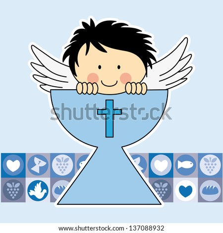 Angel in the holy grail. First communion card. Boy - stock vector