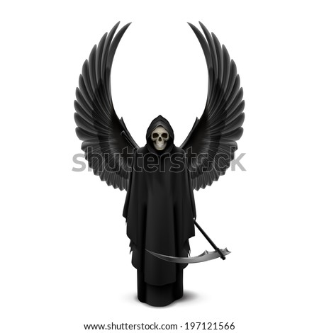 Angel of death with two wings up and a scythe in his hands. - stock vector
