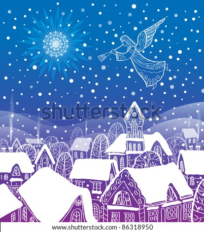 Angel of the city at Christmas - stock vector