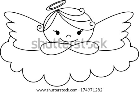 Angel on a cloud - stock vector