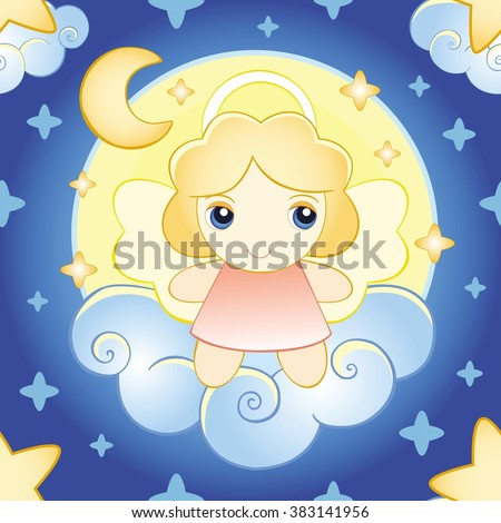 angel on a cloud. pattern - stock vector