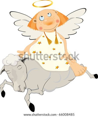 Angel on a lamb - stock vector