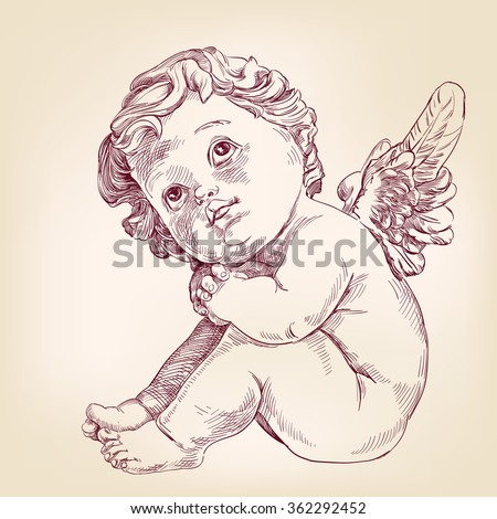 angel or cupid little baby l hand drawn vector llustration  realistic  sketch - stock vector