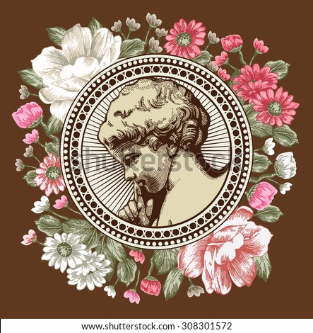 Angel. Prayer. Statue. Retro. Boy, baby, child. Frame. Drawing, engraving.  Vintage background realistic white pink flowers.  Peonies Chamomile, Wildflowers. Greeting card. Vector stock Illustration.