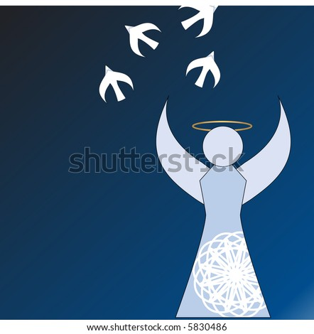 angel releasing peace doves vector - stock vector