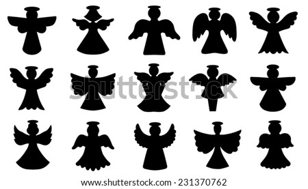 angel silhouettes on the white background - stock vector