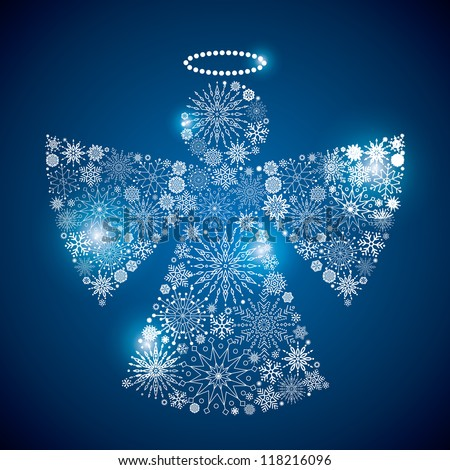 angel sphere consisting of a scattering of scintillating shining snowflakes - stock vector